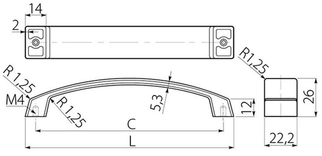 Ручка скоба GTV G1/192 хром