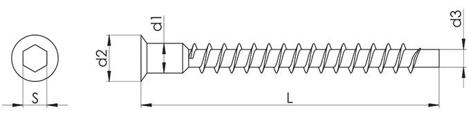 Конфирмат с потайной головкой под шестигранник Giff