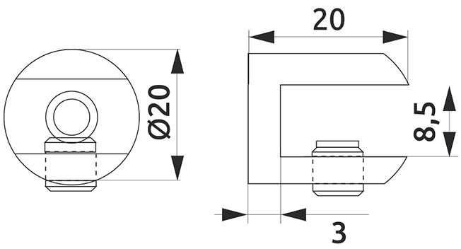 Крепление для стеклянной полки цилиндрическое Giff хром