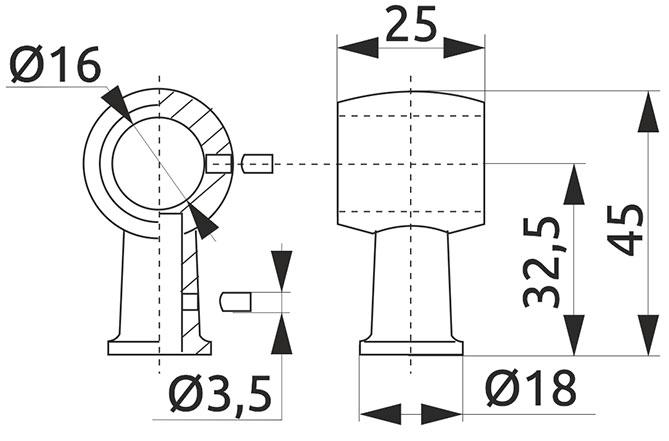 Крепление трубы-рейлинга d=16 Giff Ретро хром