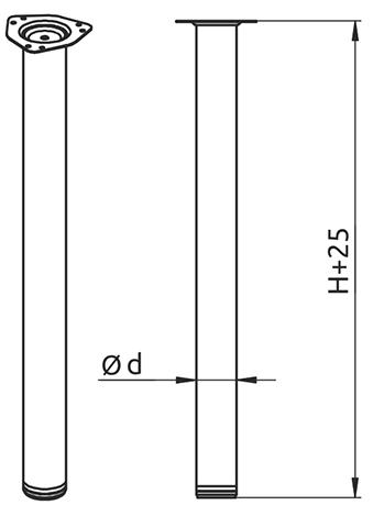 Опора для стола Alva Rondella 60/710 матовый хром