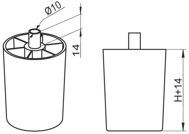 Опора регулируемая полукруглая Giff UA Н=70 черный