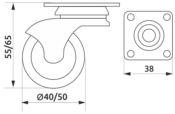 Ролик с площадкой резиновый круглый Giff Industry d=50 серый
