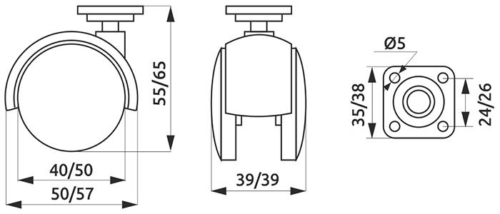 Ролик с площадкой Giff Mobili d=50 черный