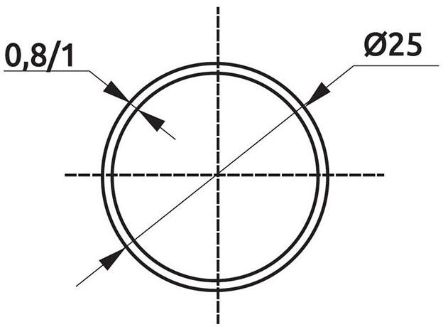 Труба d=25 Giff L=3000 t=1,0 хром