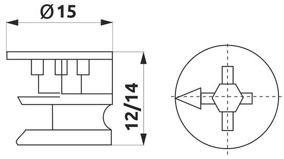Эксцентрик минификса Giff для плиты 16 мм