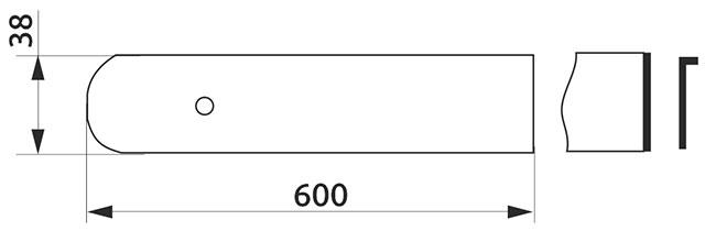 Заглушка столешницы торцевая правая U-закругленная Giff 38×600