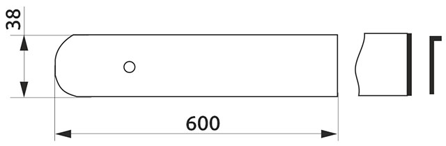 Заглушка столешницы торцевая левая U-закругленная Giff 38×600
