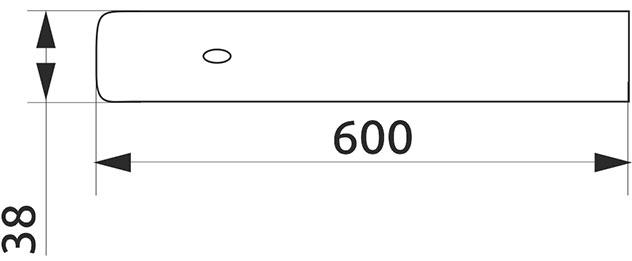 Заглушка столешницы торцевая правая U-закругленная Giff 38×600 R3