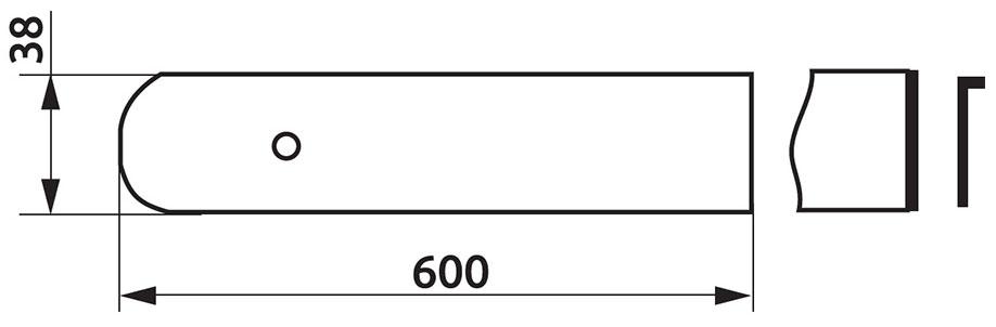 Заглушка столешницы FAB торцевая левая U-закругленная R4 38×600