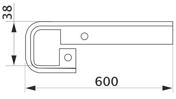 Стыковка столешницы прямая U-закругленная Giff 38×600 R3