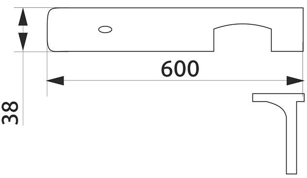 Стыковка столешницы угловая U-закругленная Giff 38×600 R3