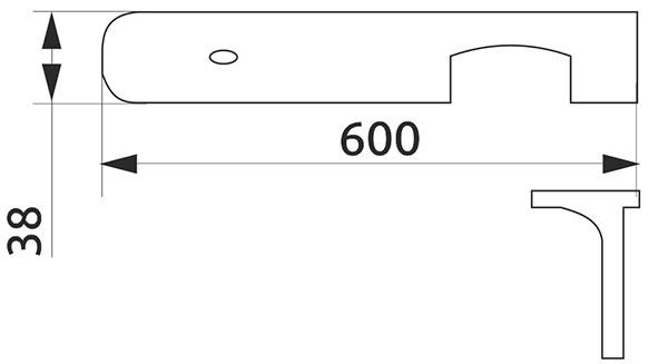 Стыковка столешницы угловая U-закругленная Giff 38×600