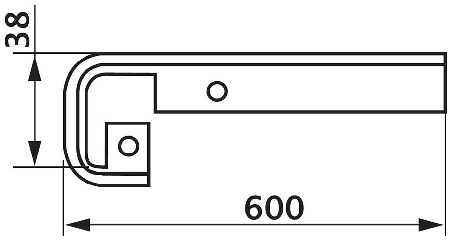 Стыковка столешницы FAB прямая U-закругленная 38×600 R4
