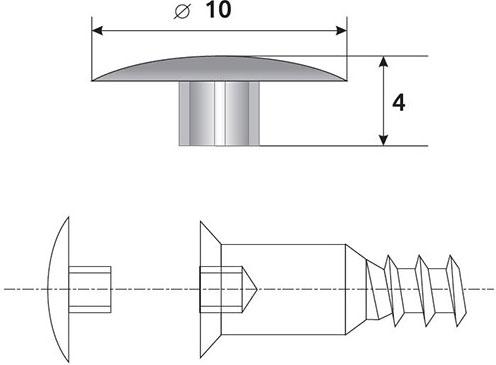 Заглушка конфирмата Giff D=10 (в ассортименте)