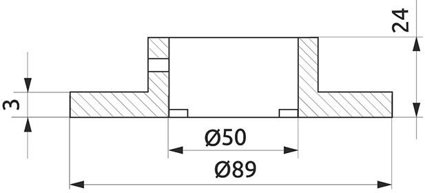Крепление трубы d=50 нижнее Giff хром