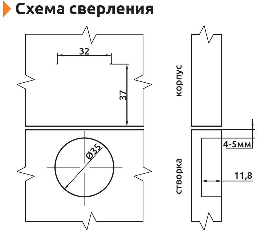 Петля вкладная с усиленной монтажной планкой Slide-on Giff Т1 d=35 H=0