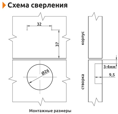 Петля накладная (мини) с доводчиком Slide-on Giff 90° d=26 H=0