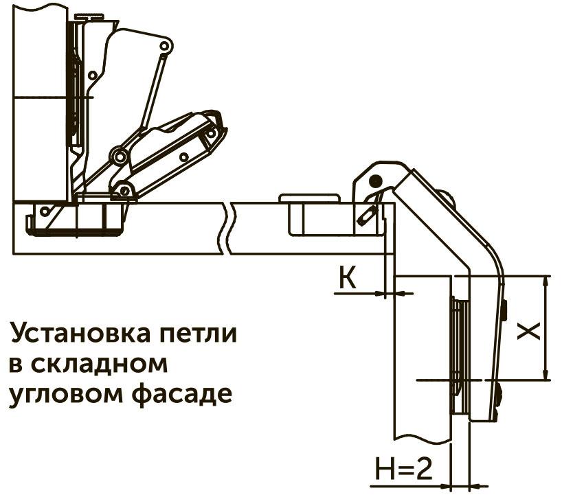 Петля накладная  Clip-on Giff Prime 25° + 90° d=35 H=2