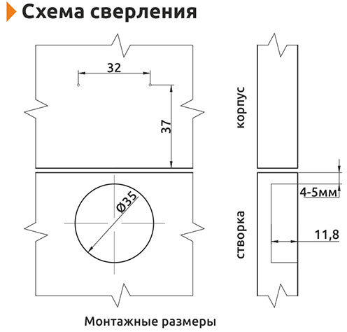 Петля накладная Slide-on Giff 175° d=35 H=0