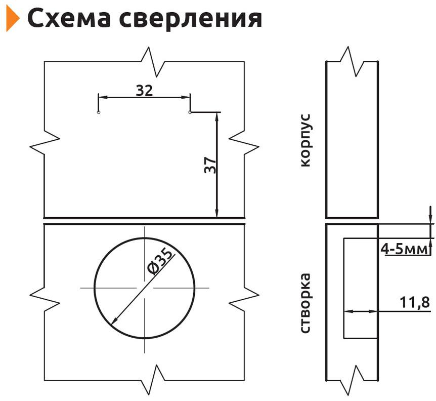 Петля полунакладная с усиленной монтажной планкой Slide-on Giff Т1 d=35 H=0