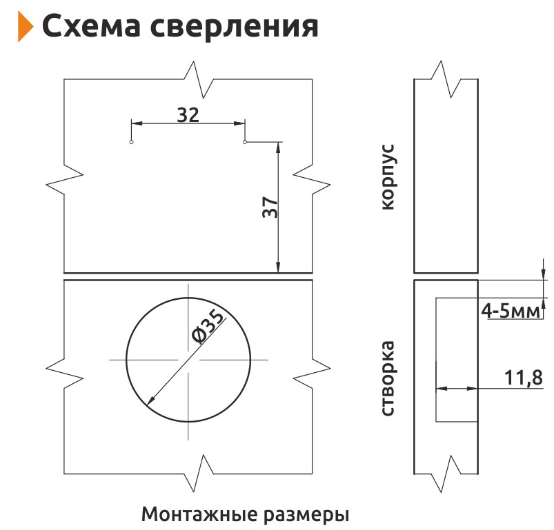 Петля полунакладная Slide-on Giff Т1 d=35 Н=0