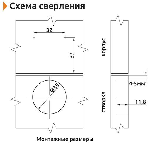 Петля полунакладная Slide-on Giff Т2 d=35 H=0