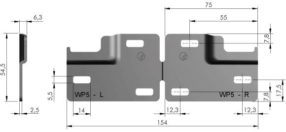 Планка монтажная для шкафодержателя Italiana Ferramenta Libra WP5 2 секции (18247)