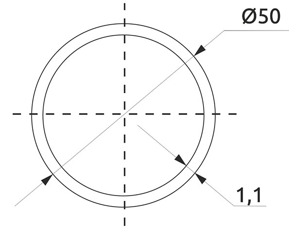Труба d=50 Giff L=3000 хром