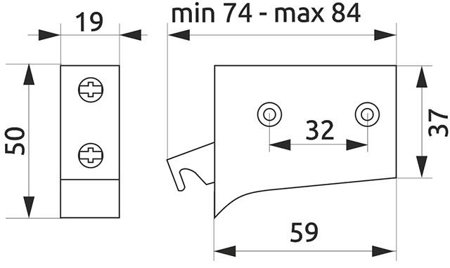 Шкафодержатель регулируемый REJS белый (13326 и 13327)