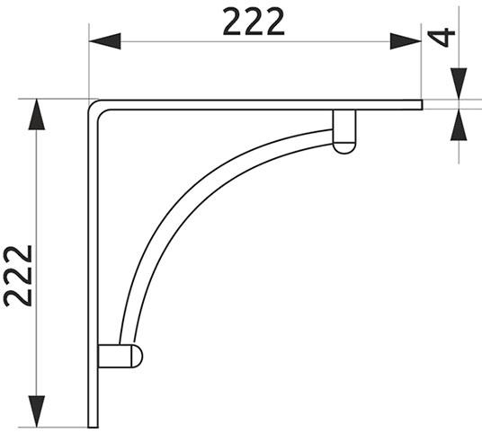 Консоль декоративная вогнутая Giff Scenic L=222 матовый хром