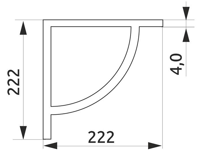Консоль декоративная выпуклая Giff дуга L=222 хром