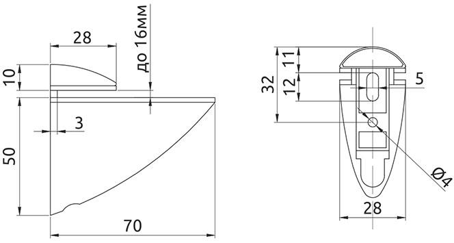 Крепление для стеклянной полки Giff Пеликан L=70 H=60 хром