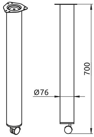Опора для стола нерегулируемая с роликом Giff Rondella 76/700 хром