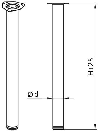 Опора для стола регулируемая Giff Rondella 60/1100 хром