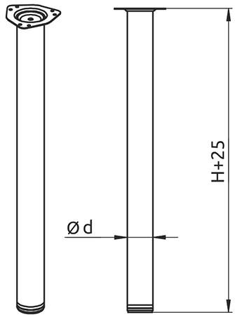 Опора для стола регулируемая Giff Rondella 60/1100 матовый хром