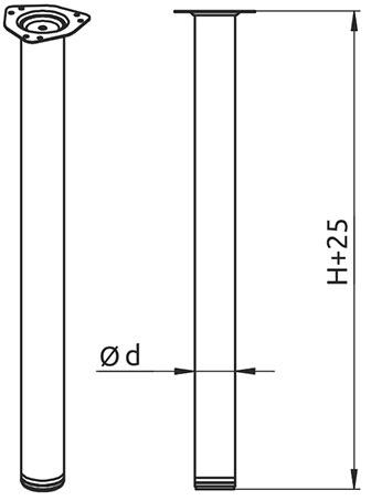 Опора для стола регулируемая Giff Rondella 60/710 сатин