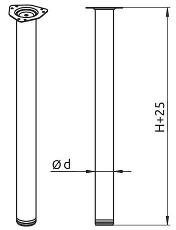 Опора для стола регулируемая Giff Rondella 60/710 хром