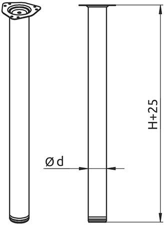 Опора для стола регулируемая Giff Rondella 60/710 чёрная
