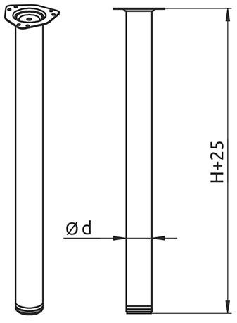 Опора для стола регулируемая Giff Rondella 60/820 сатин