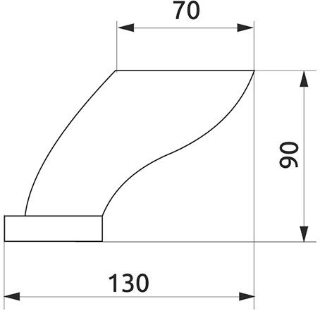 Опора нерегулируемая изогнутая Giff NZ0204 Н=90 t=1,5 хром
