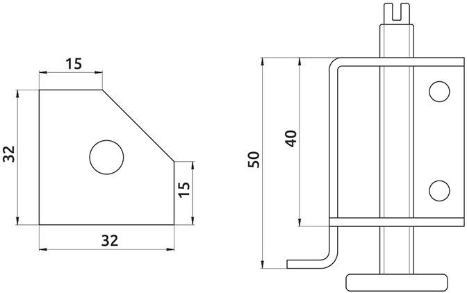 Опора регулируемая внутренняя угловая Giff H=25 (комплект 2 шт)
