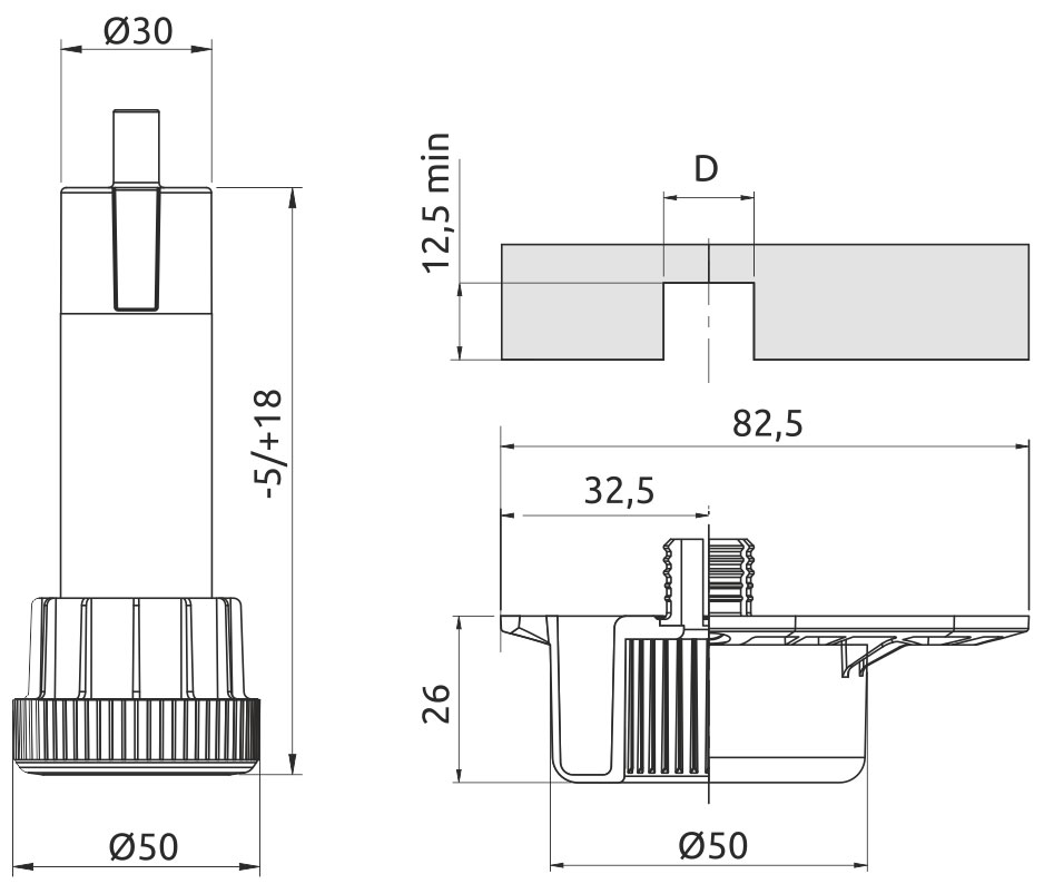 Опора регулируемая для кухонного стола Volpato Н=100 черный