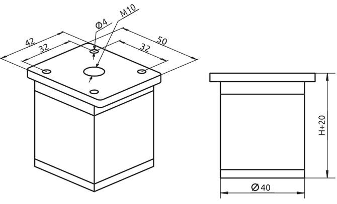 Опора регулируемая квадратная Giff NA02 Н=100 алюминий