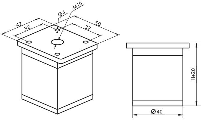 Опора регулируемая квадрат GIFF NA02C00 Н=80 алюминий