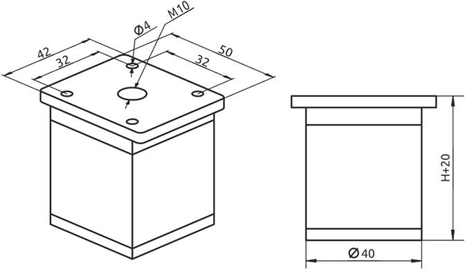 Опора регулируемая квадрат Giff NA02C00 Н=50 алюминий