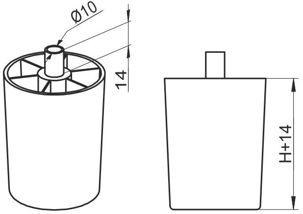 Опора регулируемая полукруглая GIFF UA Н=50 черный