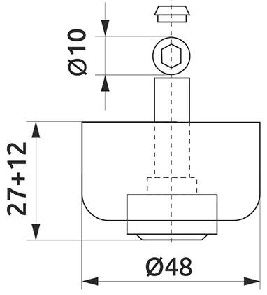 Опора регулируемая полукруглая Giff Н=27 черный