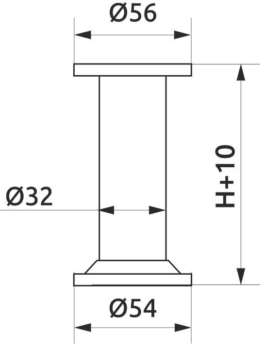 Опора регулируемая цилиндрическая Giff NA10 Т1 Н=100 алюминий