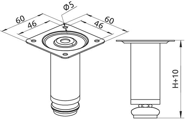 Опора регулируемая цилиндрическая Giff Round 30/80 хром